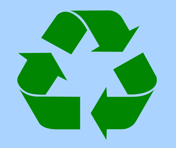 recycle symbol green on light blue hi
